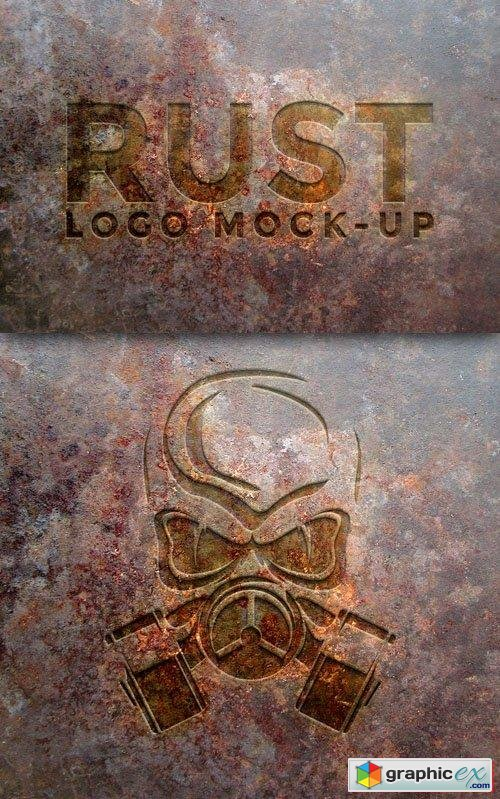 Rust Metal Logo PSD Mock-Up Template