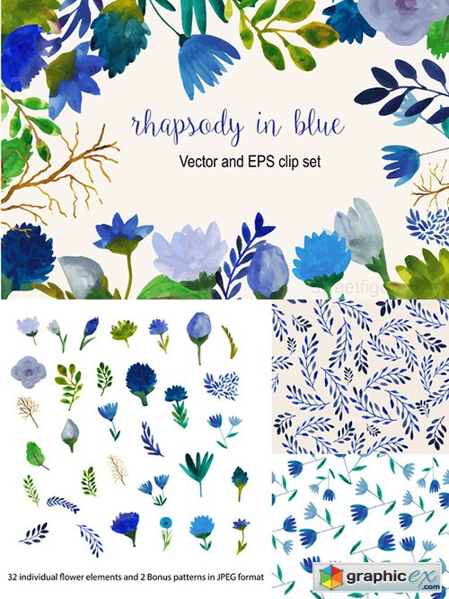 Watercolor blue flower vector set