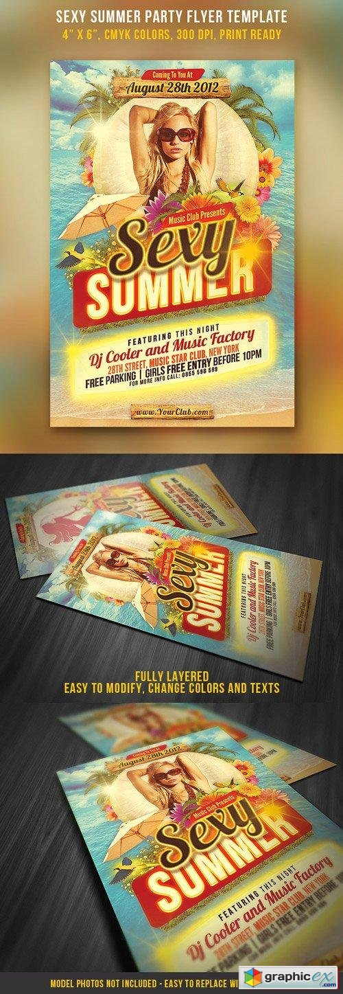 Sexy Summer Party Flyer Template Free Download Vector Stock Image
