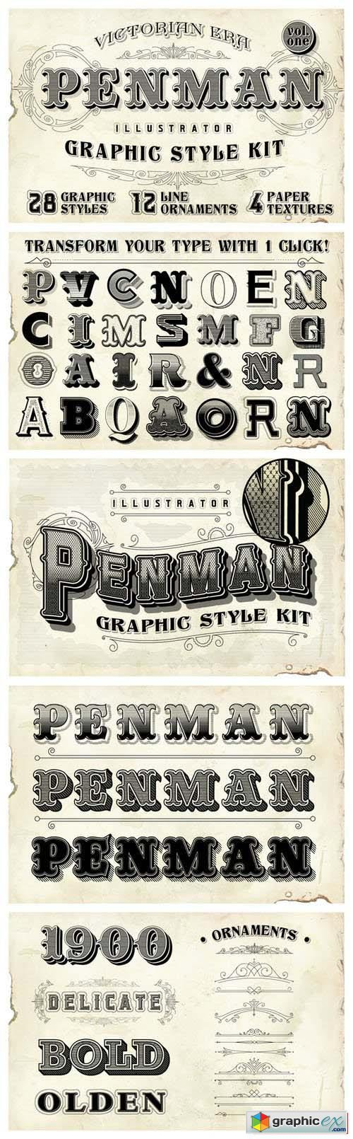 Penman Vintage Graphic Style Kit