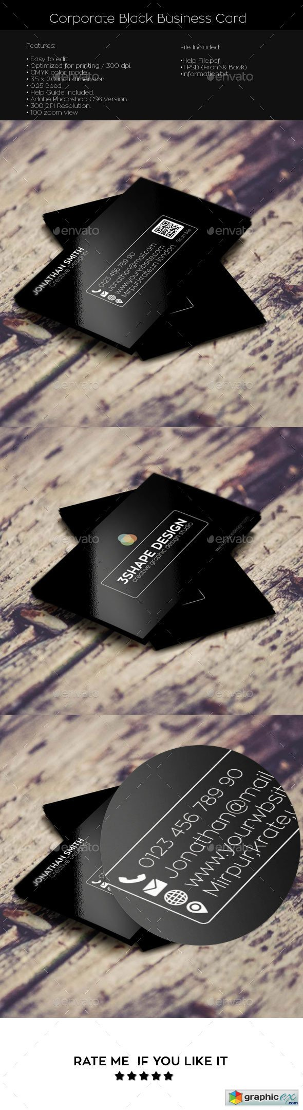 Corporate Black Simple Creative Business Card