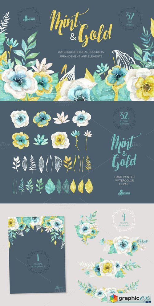 Mint & Gold Flowers
