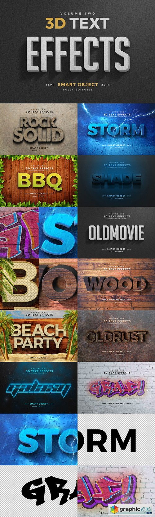 3D Text Effects Vol 2 » Free Download Vector Stock Image