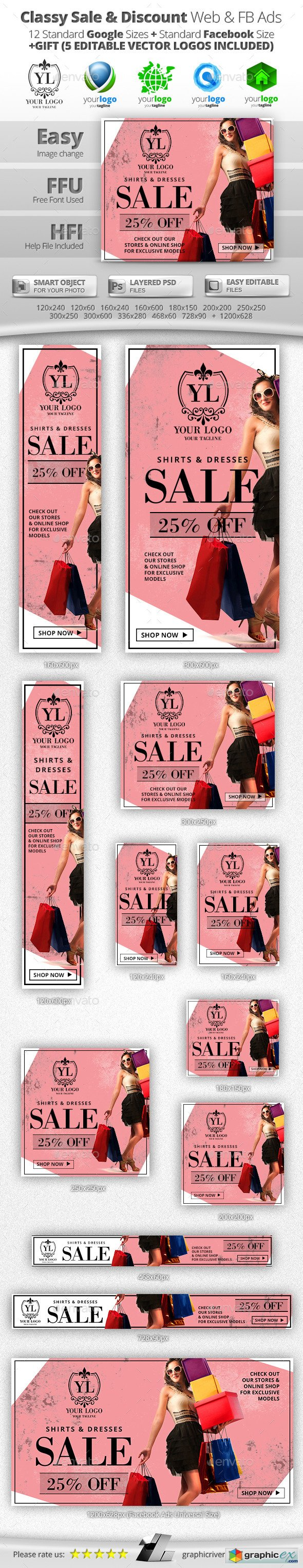 Classy Sale & Discount Web & Facebook Banners