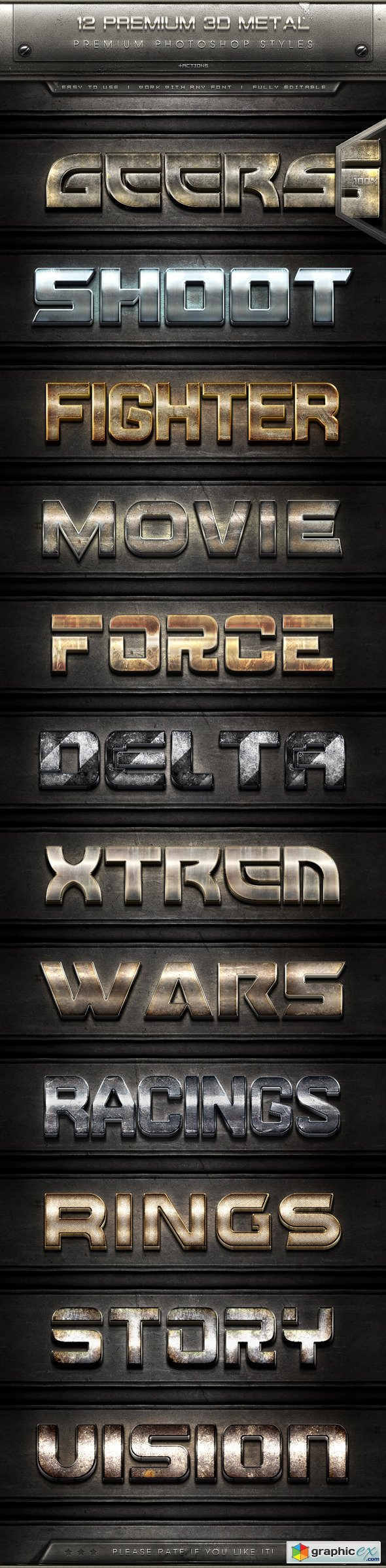 12 Premium 3D Metal Text Effect Styles + Actions