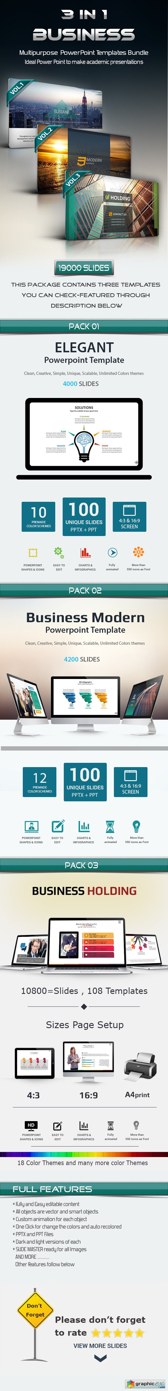 3 In 1 Business Powerpoint Template Bundle Free Download