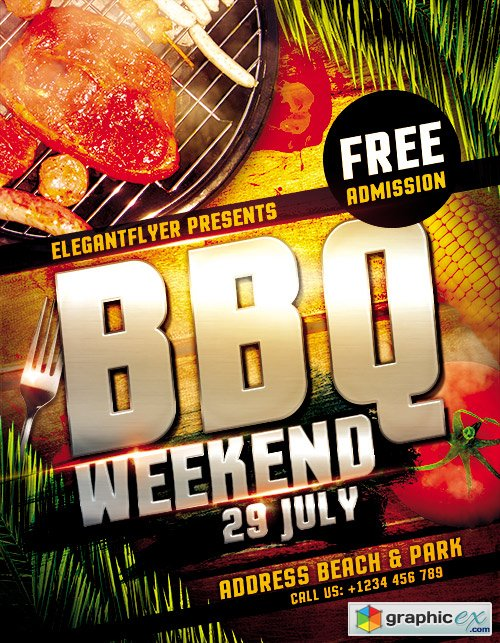 BBQ Weekend Flyer PSD Template + FB Cover u00bb Free Download Vector ...