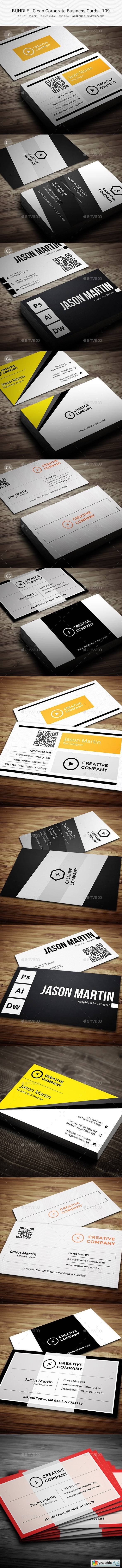 6 in 1 Clean Corporate Business Cards 109
