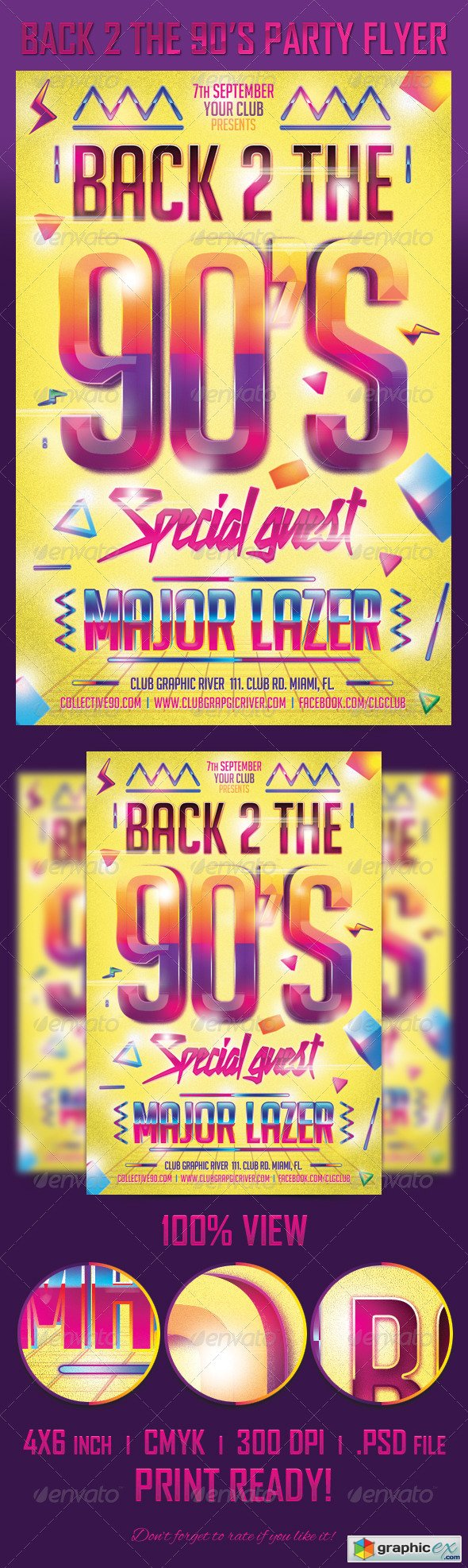 Back 2 the 90's Party Flyer Template 5447520