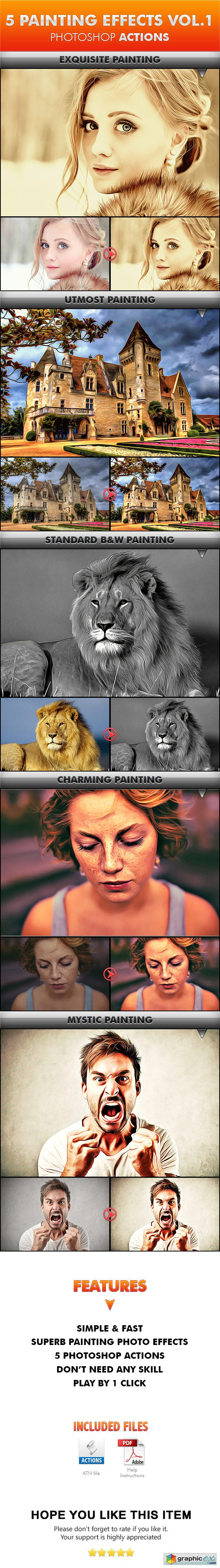 5 Painting Effects Vol.1 Photoshop Actions