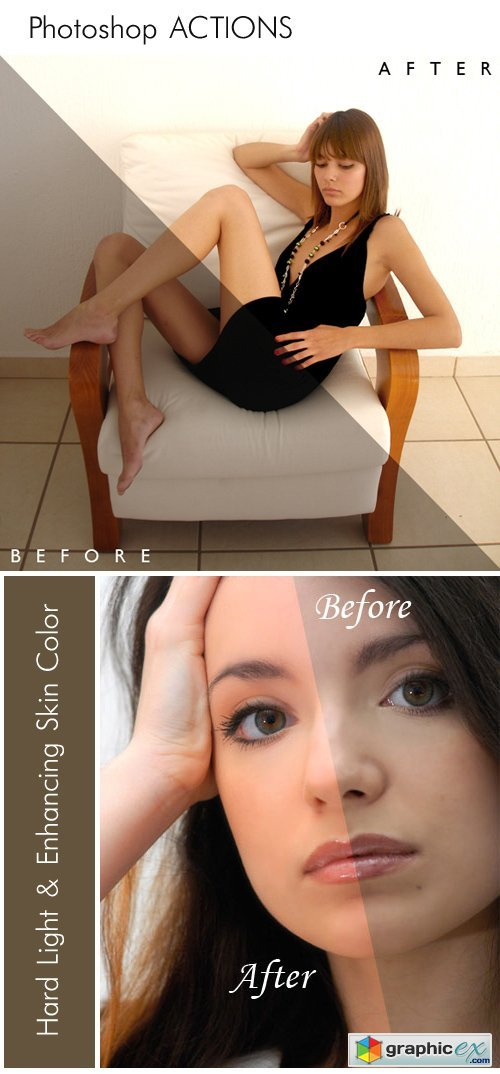 Photoshop Actions - Hard Light & Enhancing Skin Color