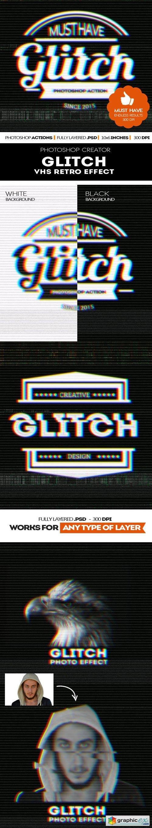 Graphicriver - Glitch VHS Corrupt Image Effect Photoshop