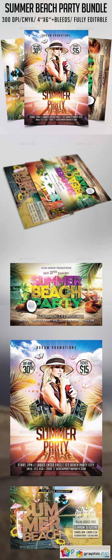 Summer Beach Party Flyer Bundle 12253467 » Free Download