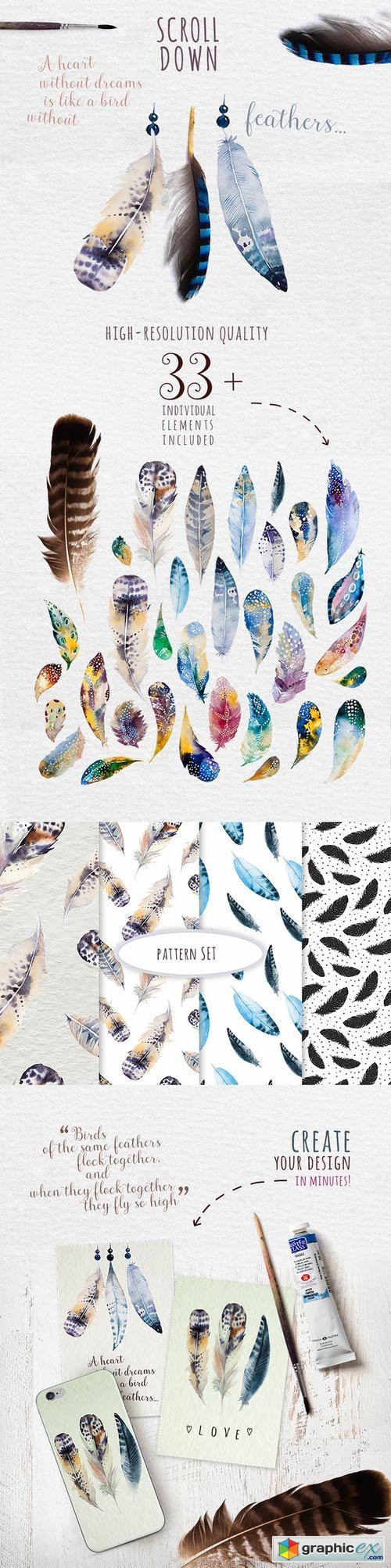 Watercolor feather DIY