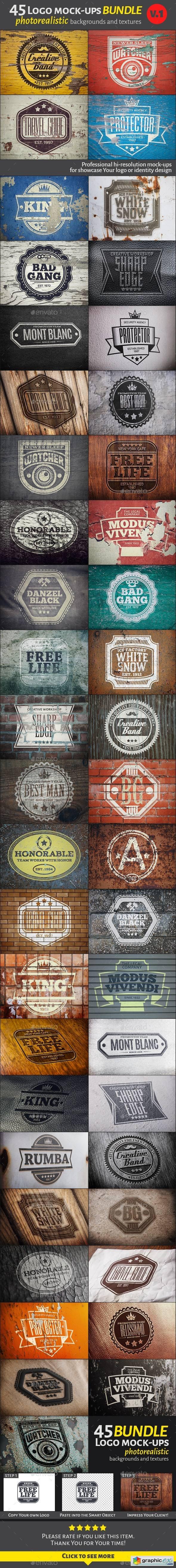 45 Vintage Logo Mock-Ups. Bundle v1