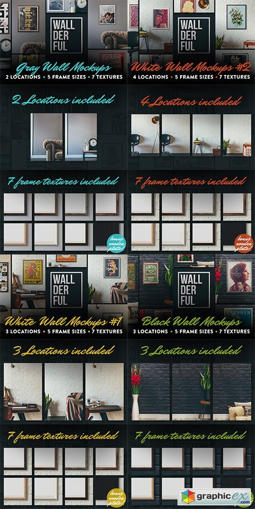 Wallderful Wall Mockups Bundle 4in1