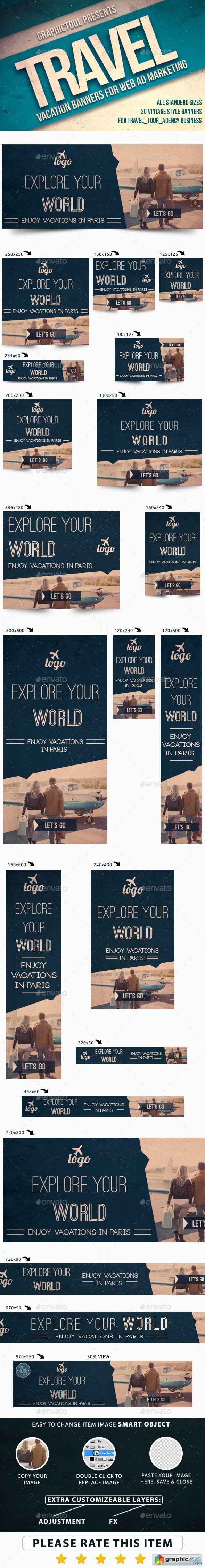 Vintage Travel Web Ad Marketing Banners