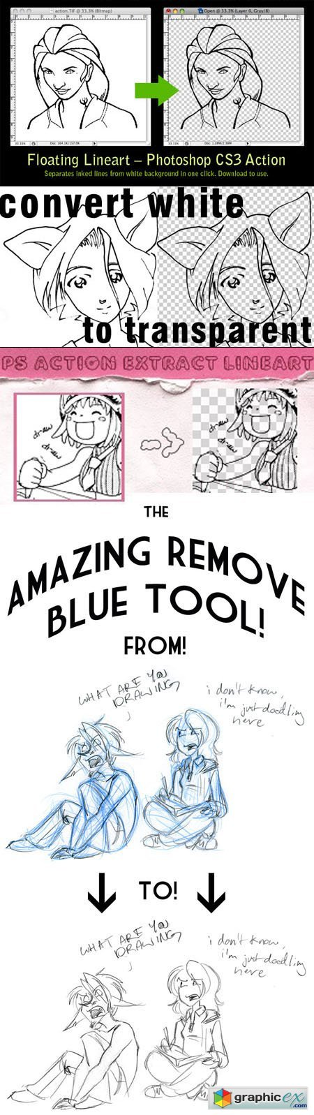 Floating Lineart & Remove Blue Pencil Actions for Photoshop