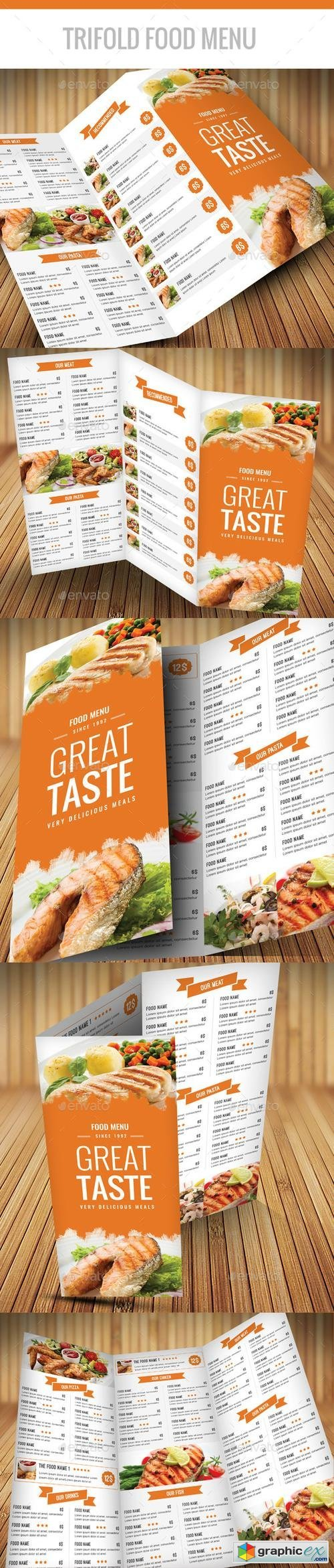 Trifold Food Menu A4