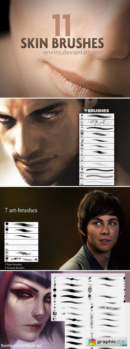 Human Skin & Art Brushes with Textures for Photoshop