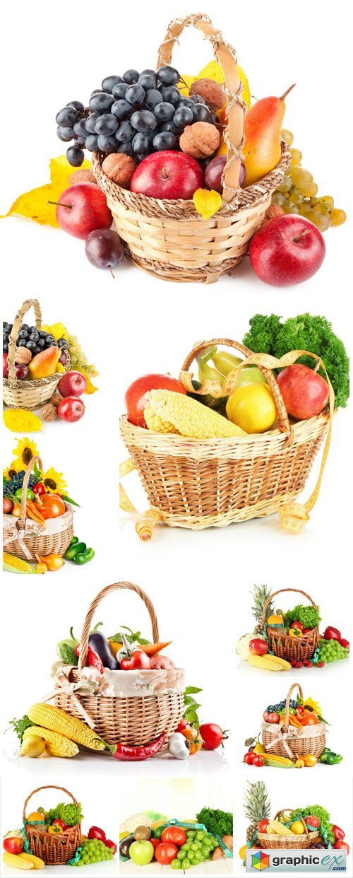 Basket with vegetables, fruits and berries - Stock photo