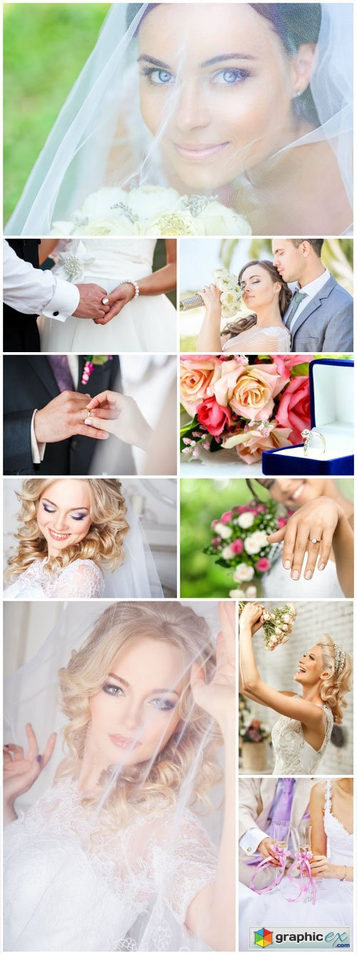 Wedding set, bride and groom - Stock photo
