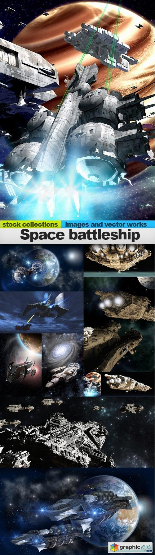 Space battleship, 10 x UHQ JPEG