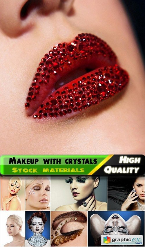 Fashionable women makeup with crystals and rhinestones - 25 HQ Jpg