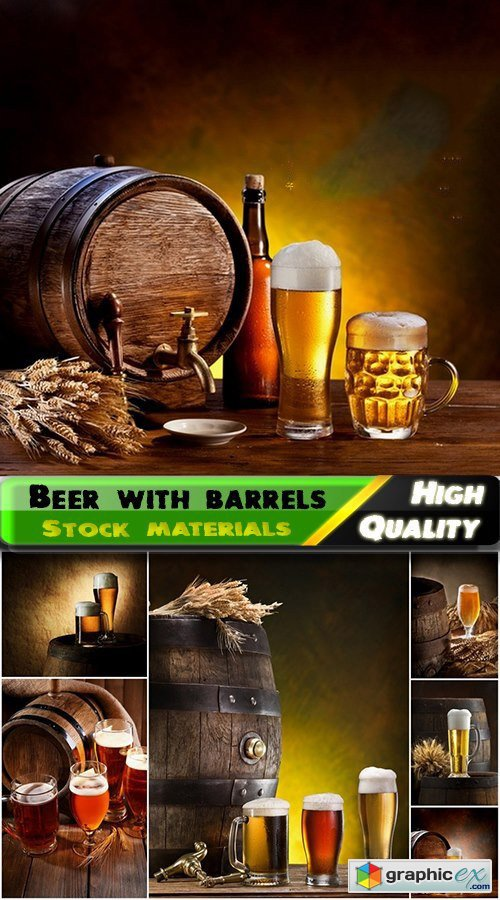 Light and dark beer with wooden barrels - 25 HQ Jpg