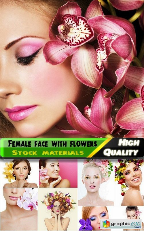 Beautiful female face with flowers - 25 HQ Jpg