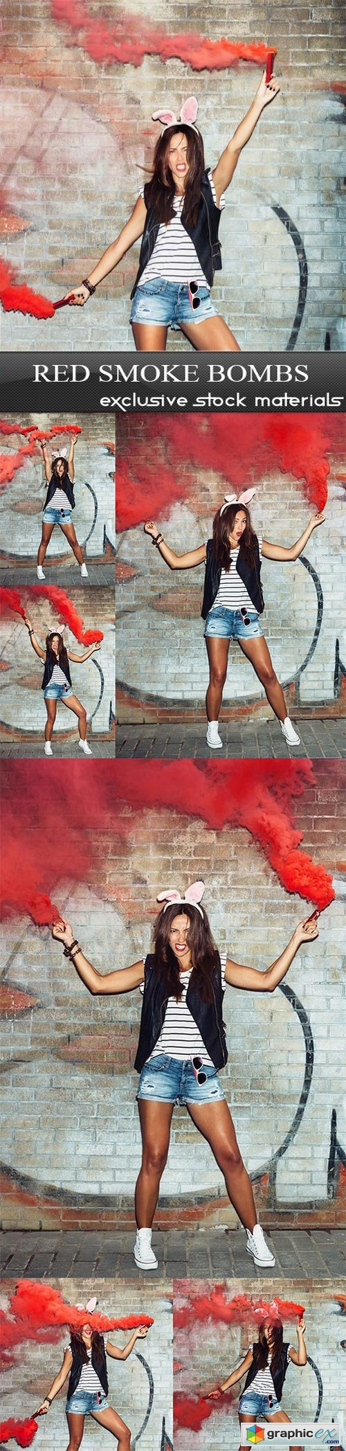 Red smoke bombs - 7 UHQ JPEG