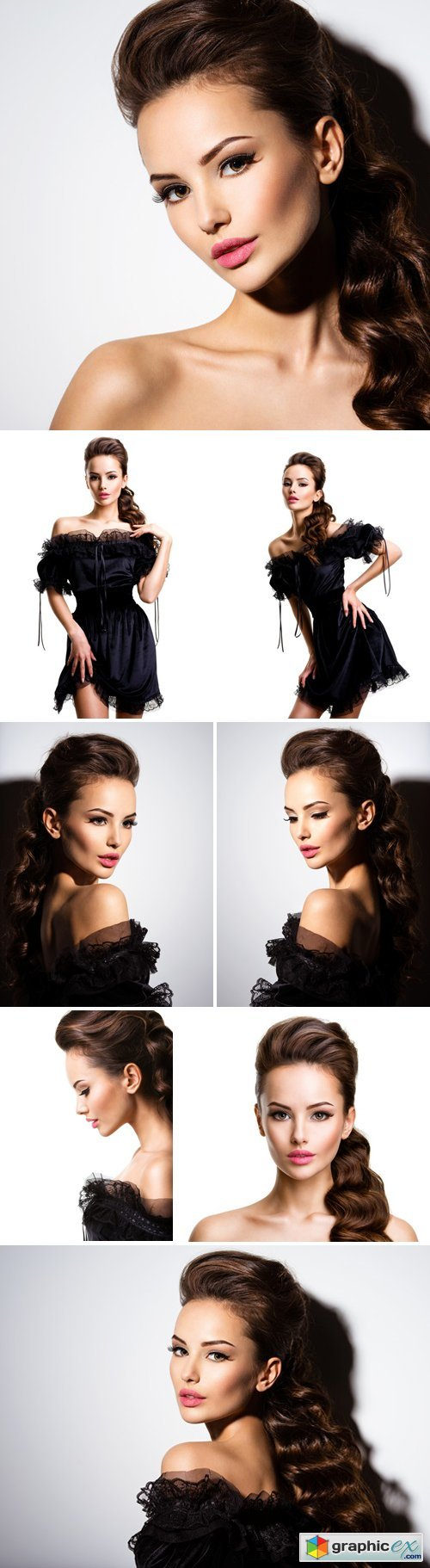 Stock Photos - Beautiful Face Of An Young Sexy Girl In Black Dress Posing At Studio On White Background