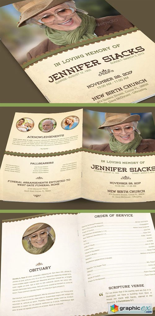 Elegance Funeral Program Template