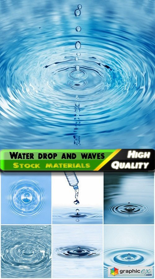 Water drop with splashes and waves backgrounds - 25 HQ Jpg