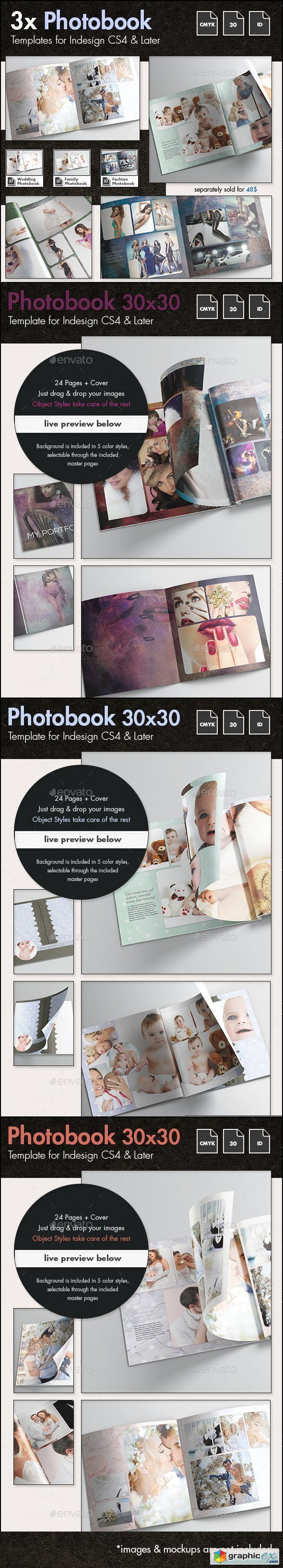 3x Photobook Album Template Bundle