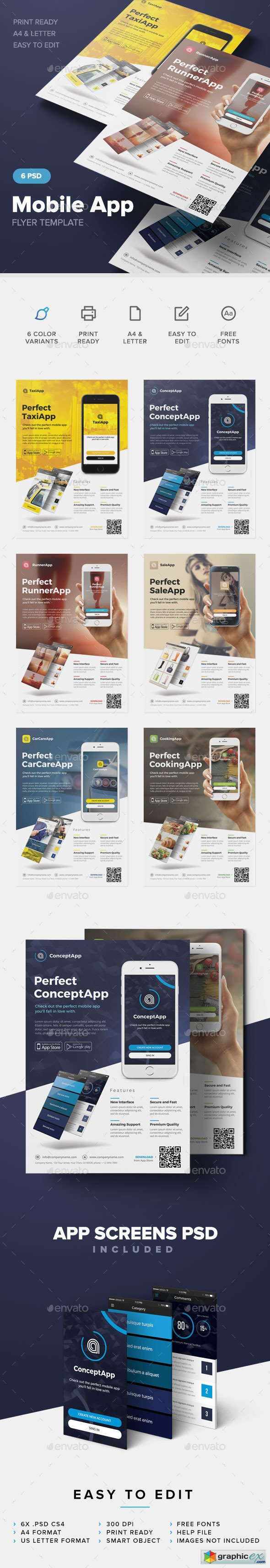 Mobile App Flyer Template 12649951
