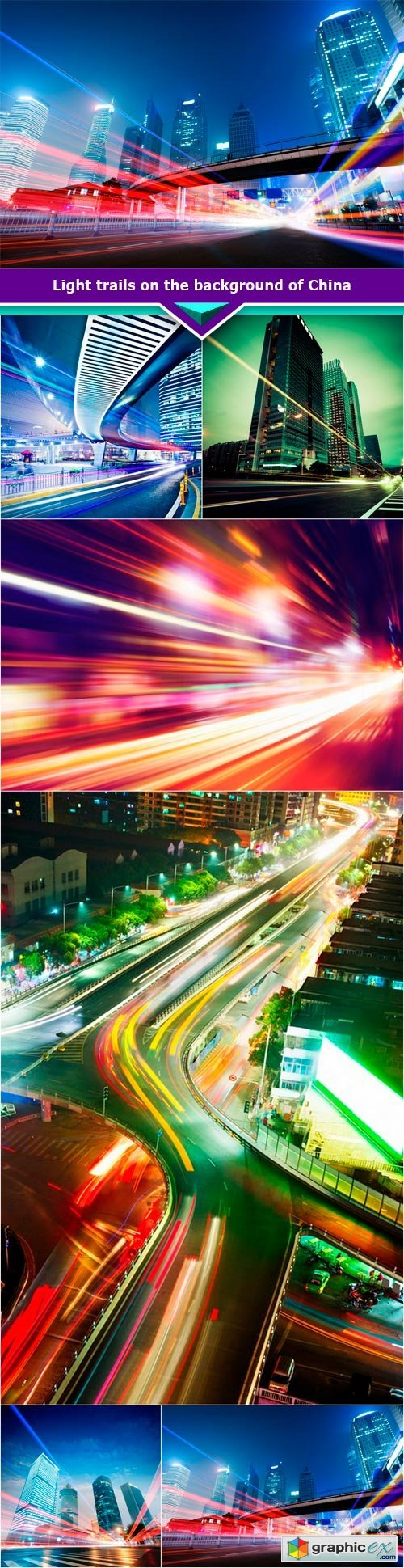 Light trails on the background of China 6x JPEG