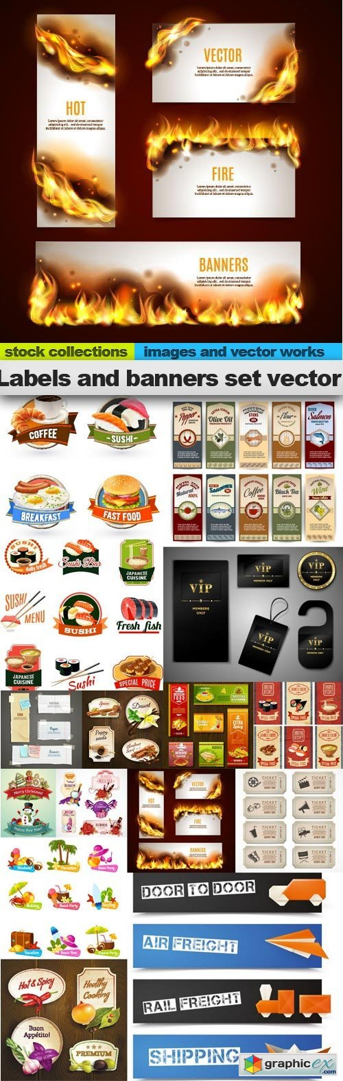 Labels and banners set vector, 15 xEPS