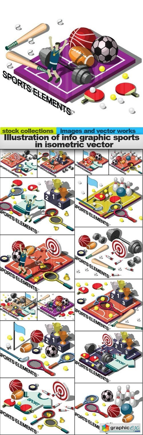 Illustration of info graphic sports in isometric vector, 15 x EPS
