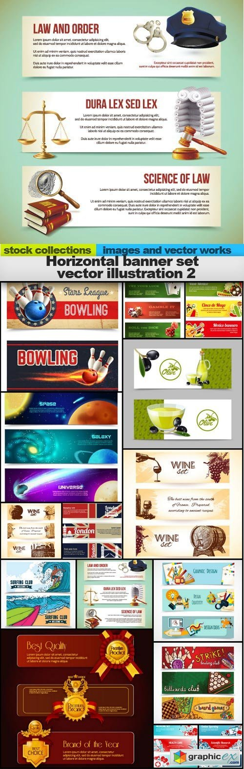 Horizontal banner set vector illustration 2, 15 x EPS