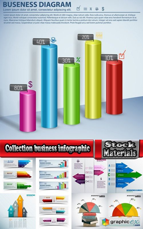 Collection business infographic vector image #3-25 Eps