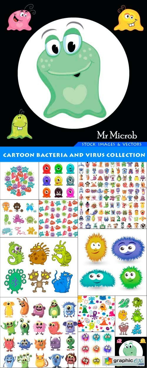 Cartoon bacteria and virus collection 12X EPS