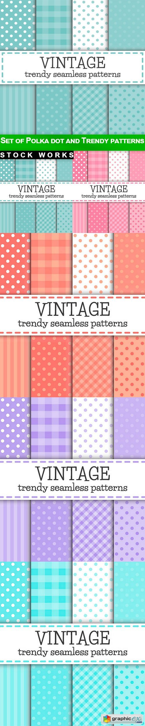 Set of Polka dot and Trendy patterns - 5 EPS