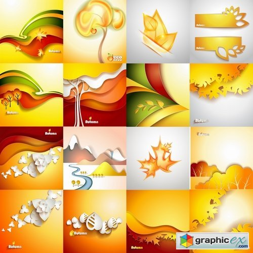 Collection of vector autumn background is a picture poster flyer banner leaf tree #4-25 EPS