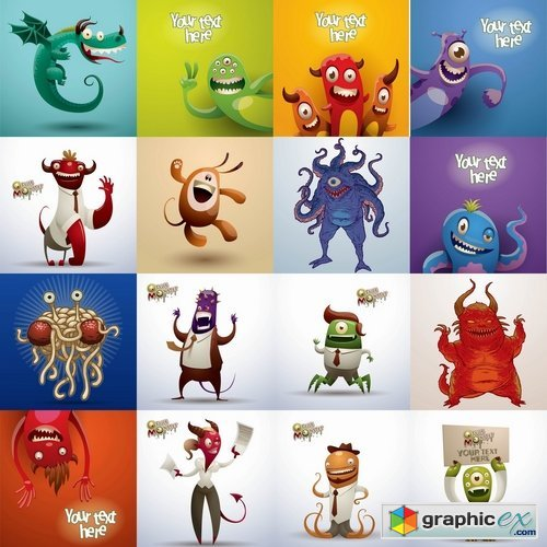 Collection of vector character picture funny monster alien beast 25 EPS