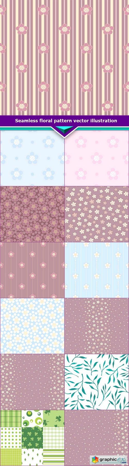 Seamless floral pattern vector illustration 13x EPS