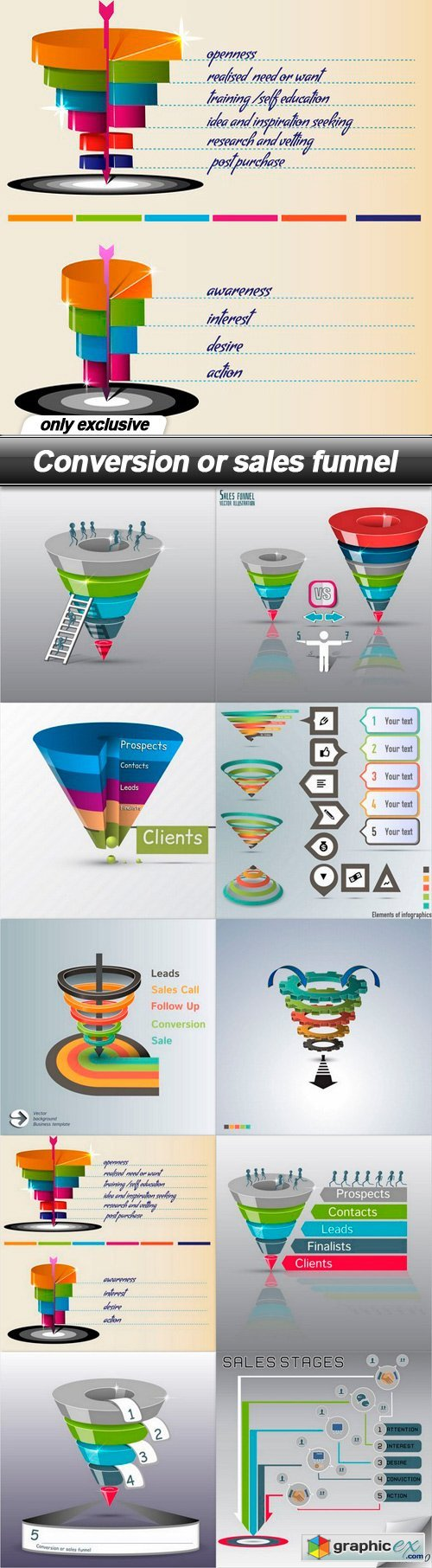 Conversion or sales funnel - 10 EPS
