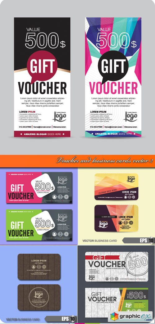 Voucher and business cards vector 2