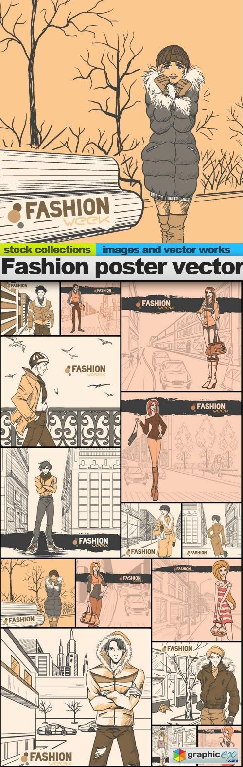 Fashion poster vector, 15 x EPS