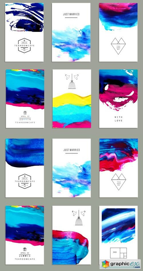 Watercolor Abstract Cards Vector